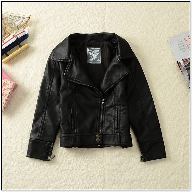 Infant Leather Jacket With Fur