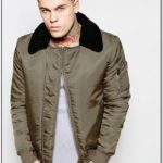 Mens Green Bomber Jacket With Fur Collar