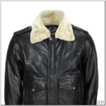Men's Leather Aviator Jacket With Fur Collar