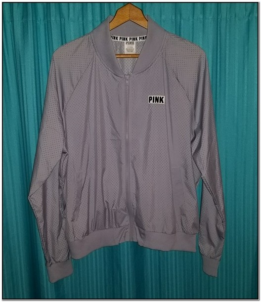 Vs Pink Perforated Bomber Jacket