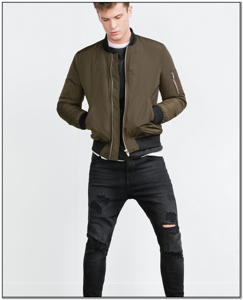 Zara Bomber Jacket Mens Blue